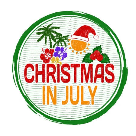 40936810 - christmas in july grunge rubber stamp on white, vector illustration