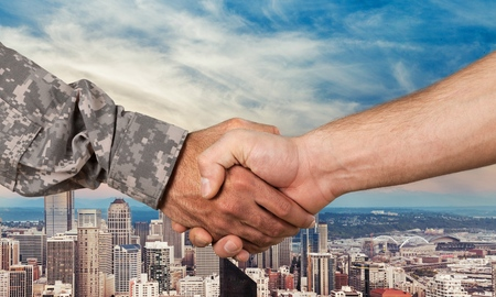 42720267 - military, armed forces, handshake.