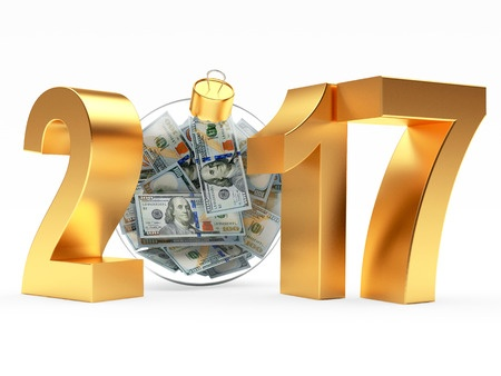 63888664 - 2017 new year with glass christmas ball full of dollar bills isolated on white background. 3d illustration